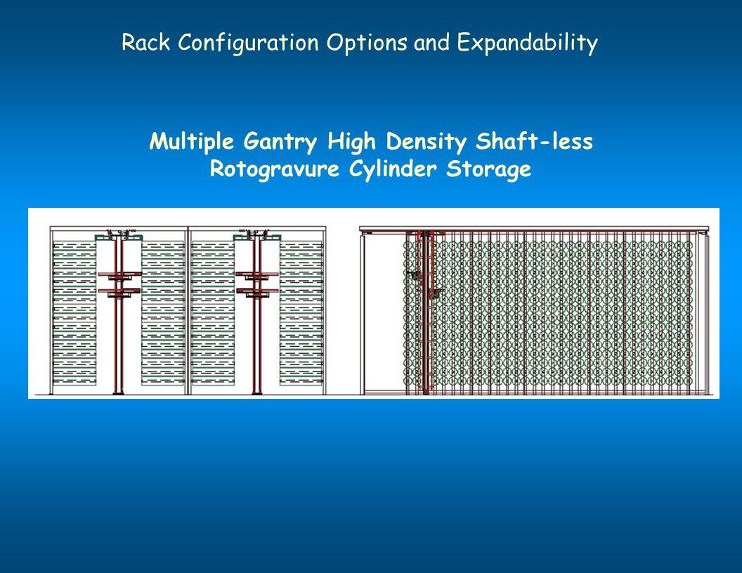 Rack Configuration Options and Expandability Multiple Gantry High Density Shaft-less Rotogravure Cylinder Storage