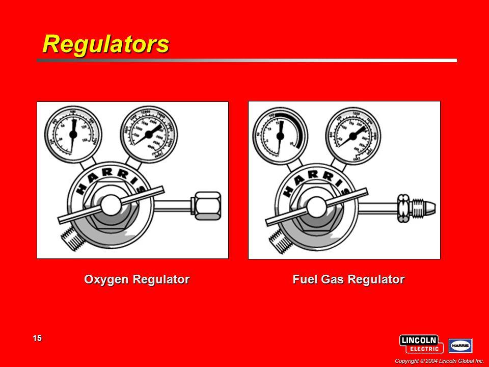 15 Copyright  2004 Lincoln Global Inc. Oxygen Regulator Fuel Gas Regulator Regulators
