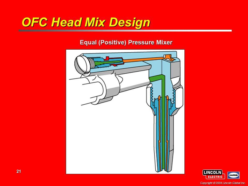 21 Copyright  2004 Lincoln Global Inc. Equal (Positive) Pressure Mixer OFC Head Mix Design