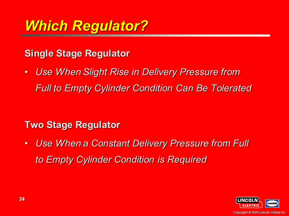 24 Copyright  2004 Lincoln Global Inc.Which Regulator.