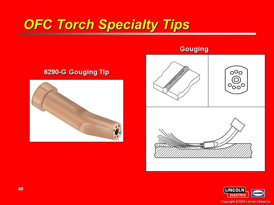 40 Copyright  2004 Lincoln Global Inc. 6290-G Gouging Tip Gouging OFC Torch Specialty Tips