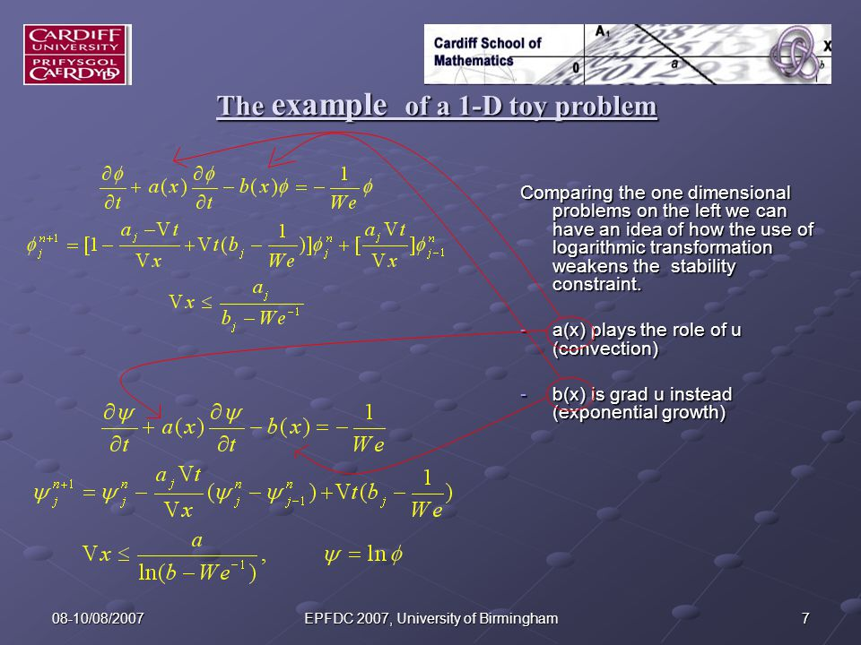 708-10/08/2007EPFDC 2007, University of Birmingham The example of a 1-D toy problem Comparing the one dimensional problems on the left we can have an idea of how the use of logarithmic transformation weakens the stability constraint.