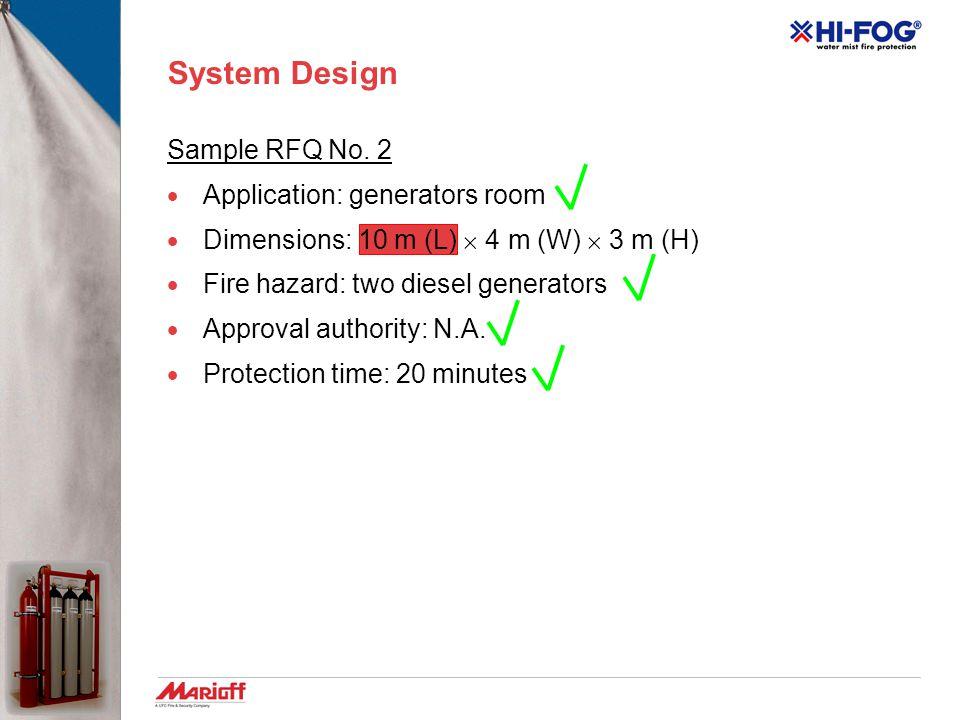 System Design Sample RFQ No. 1  Application: fuel storage  Dimensions: 6 m (L)  4 m (W)  3 m (H)  Fire hazard: five fuel tanks, 350 litre of Dies
