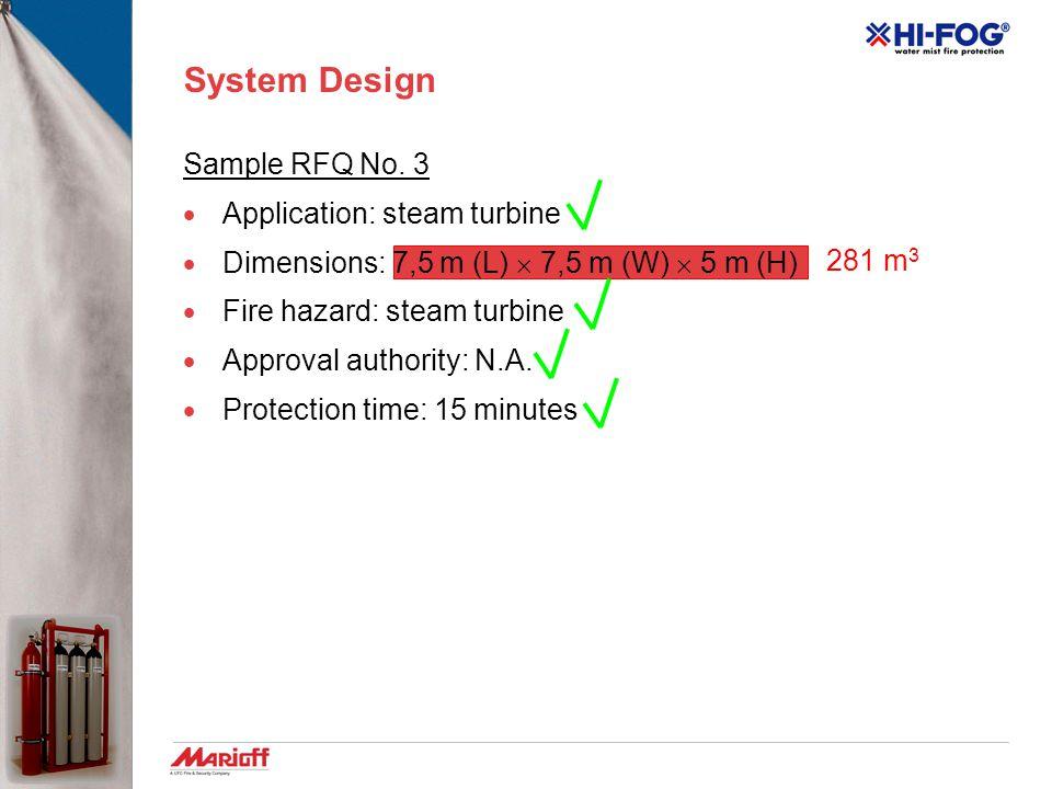 System Design Sample RFQ No. 2  Application: generators room  Dimensions: 10 m (L)  4 m (W)  3 m (H)  Fire hazard: two diesel generators  Approv