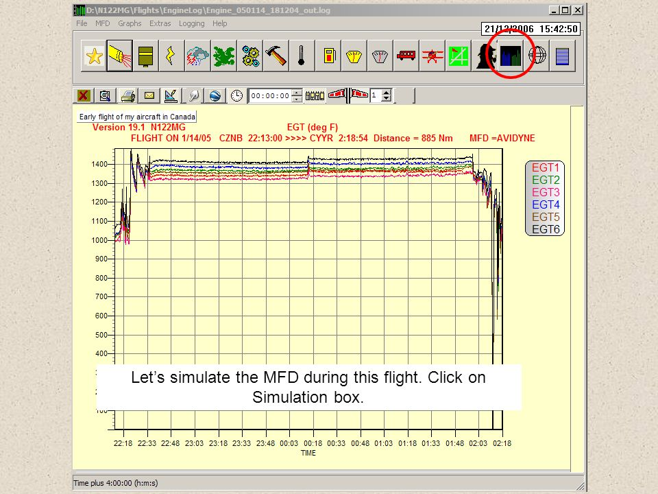 Let's simulate the MFD during this flight. Click on Simulation box.