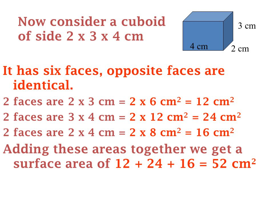 It has six faces, opposite faces are identical.