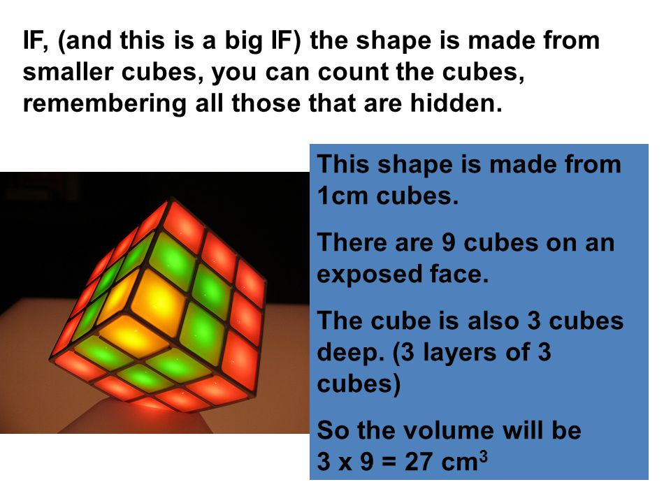 IF, (and this is a big IF) the shape is made from smaller cubes, you can count the cubes, remembering all those that are hidden.