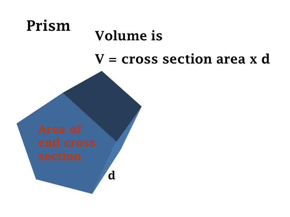Prism Area of end cross section d Volume is V = cross section area x d