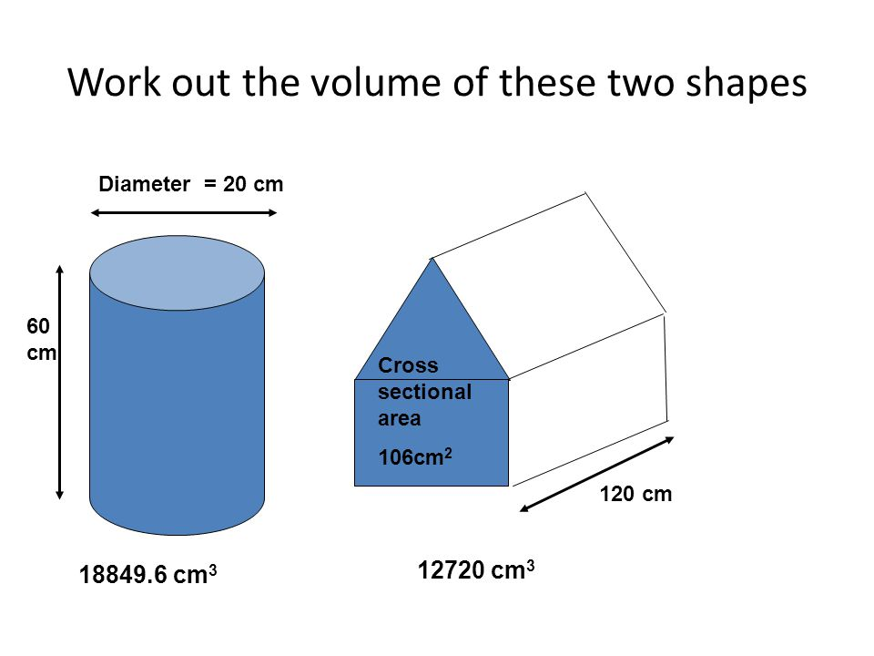 Work out the volume of these two shapes Diameter = 20 cm 60 cm 120 cm Cross sectional area 106cm 2 18849.6 cm 3 12720 cm 3