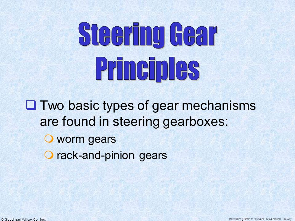 © Goodheart-Willcox Co., Inc. Permission granted to reproduce for educational use only  Two basic types of gear mechanisms are found in steering gear