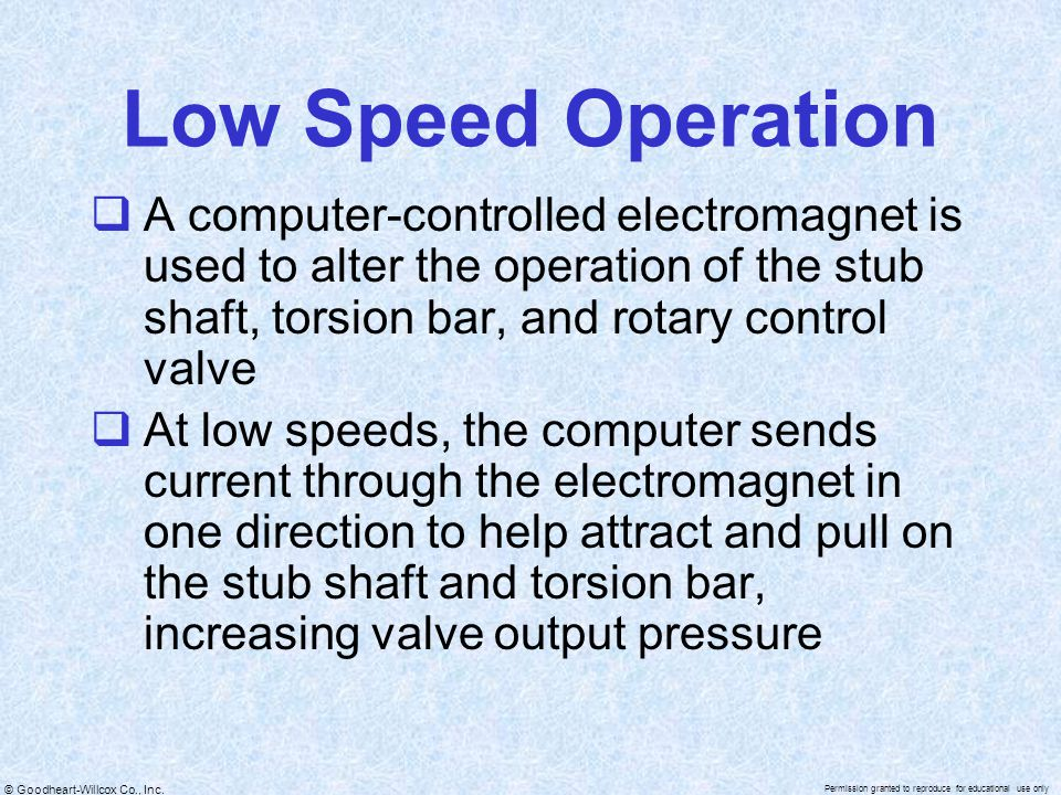 © Goodheart-Willcox Co., Inc. Permission granted to reproduce for educational use only Low Speed Operation  A computer-controlled electromagnet is us