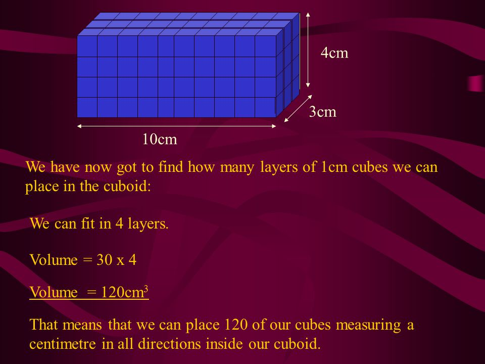 10cm 3cm 4cm We have found that the volume of the cuboid is given by: Volume = 10 x 3 x 4 = 120cm 3 This gives us our formula for the volume of a cuboid: Volume = Length x Breadth x Height V=LBH for short.
