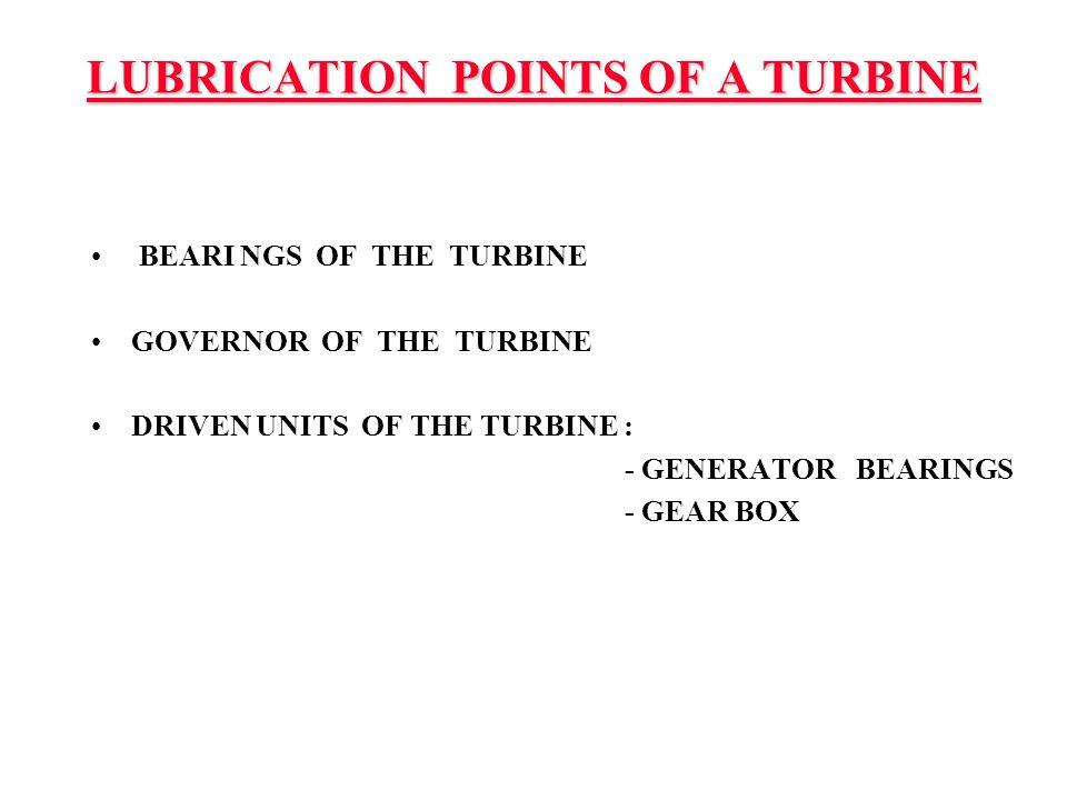 LUBRICATION POINTS OF A TURBINE BEARI NGS OF THE TURBINE GOVERNOR OF THE TURBINE DRIVEN UNITS OF THE TURBINE : - GENERATOR BEARINGS - GEAR BOX