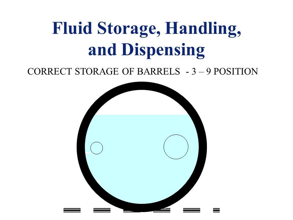 Fluid Storage, Handling, and Dispensing CORRECT STORAGE OF BARRELS - 3 – 9 POSITION