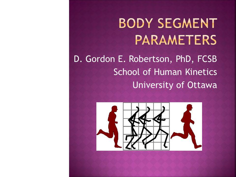 weighted sum of all segments' centres x total =  P i x i  y total =  P i y i  z total =  P i z i   (x total, y total, z total ) = total body centre of gravity  note,  P i =1 Biomechanics Lab, University of Ottawa 12