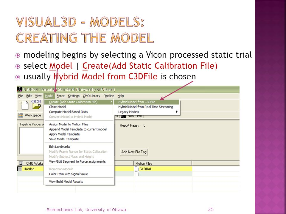  modeling begins by selecting a Vicon processed static trial  select Model | Create(Add Static Calibration File)  usually Hybrid Model from C3DFile