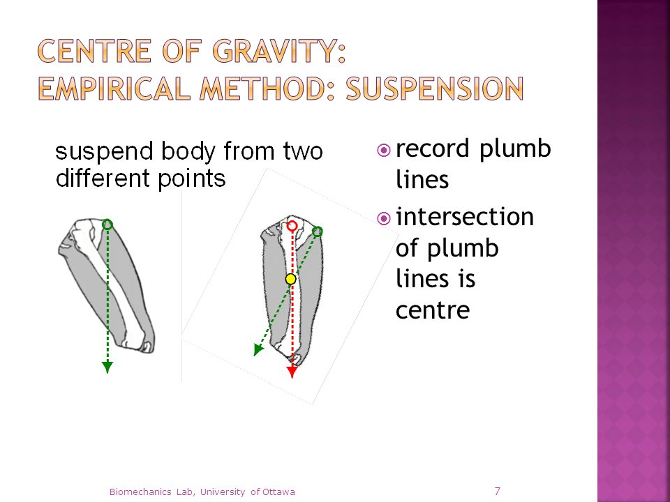  record plumb lines  intersection of plumb lines is centre Biomechanics Lab, University of Ottawa 7