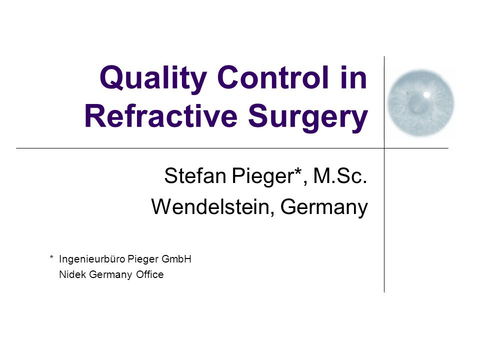 Introduction Personal experience as application specialist for refractive excimer lasers since 1987.