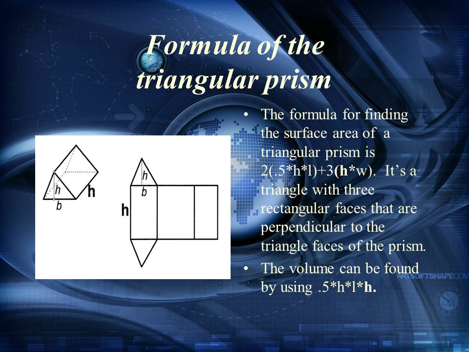 Formula of the triangular prism The formula for finding the surface area of a triangular prism is 2(.5*h*l)+3(h*w).