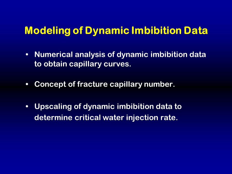Modeling of Dynamic Imbibition Data Numerical analysis of dynamic imbibition data to obtain capillary curves.