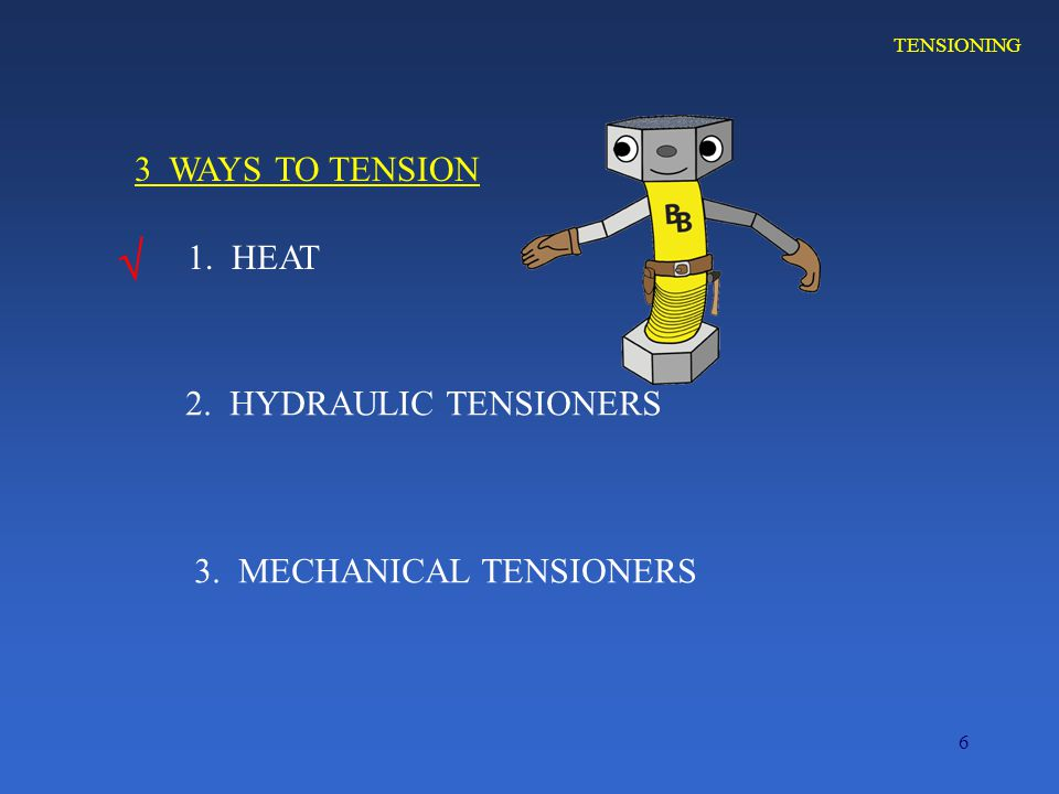 6 TENSIONING 1. HEAT 3 WAYS TO TENSION 2. HYDRAULIC TENSIONERS 3. MECHANICAL TENSIONERS 