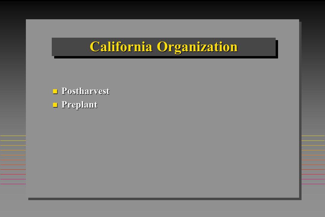California Organization n Postharvest n Preplant