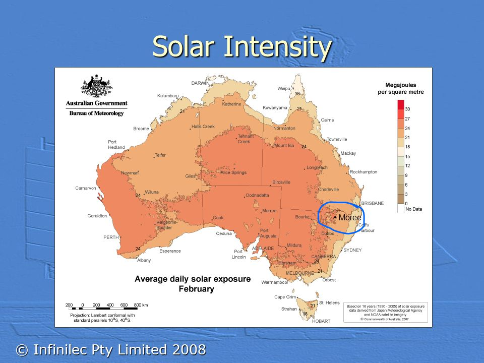 © Infinilec Pty Limited 2008 Solar Intensity Moree
