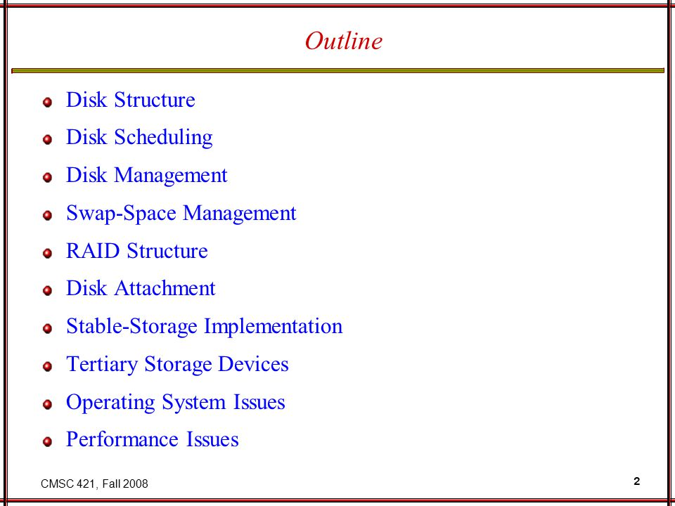 CMSC 421, Fall 2008 43 Price per Megabyte of DRAM