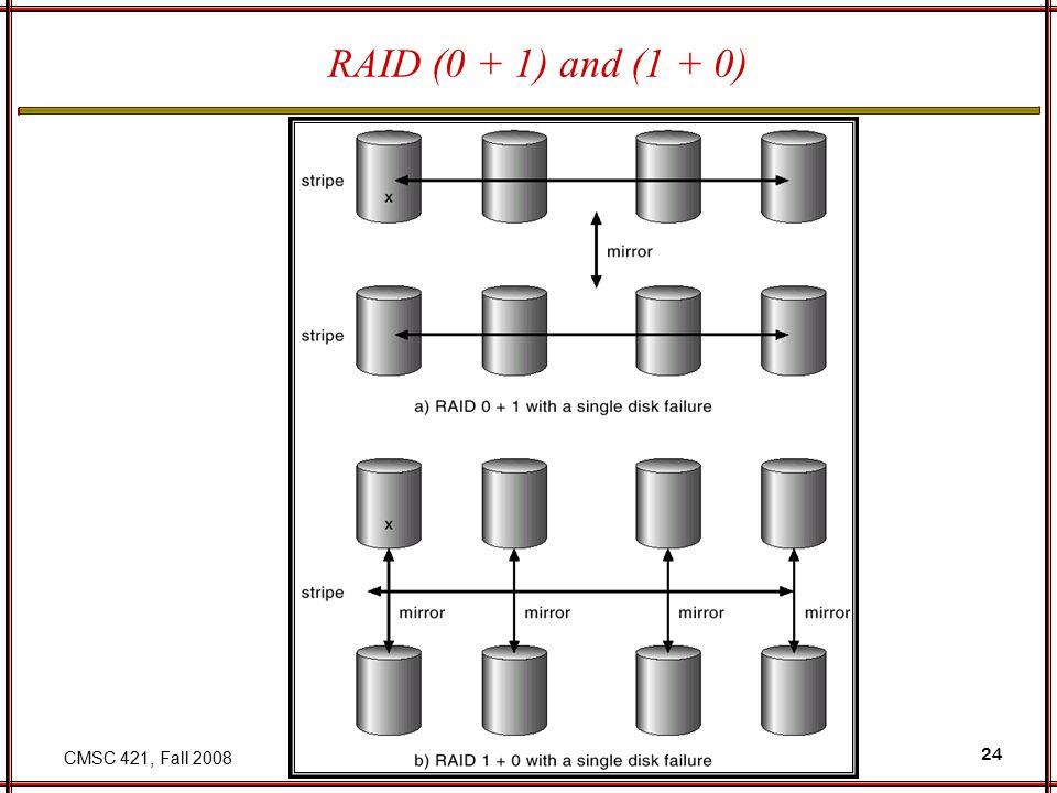 CMSC 421, Fall 2008 24 RAID (0 + 1) and (1 + 0)