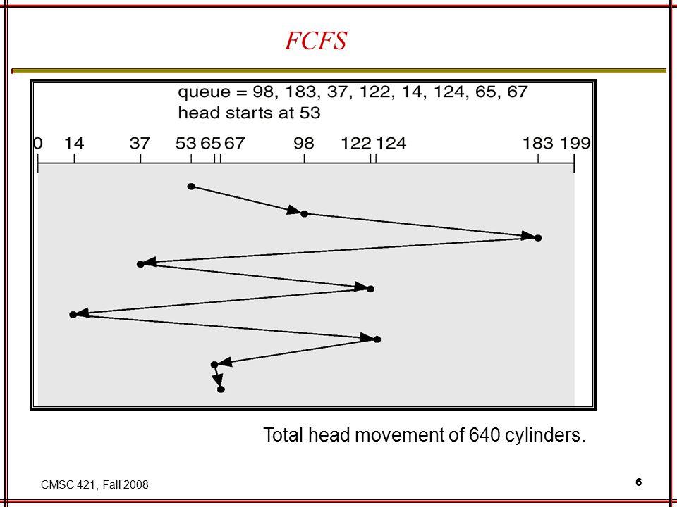 CMSC 421, Fall 2008 6 FCFS Total head movement of 640 cylinders.