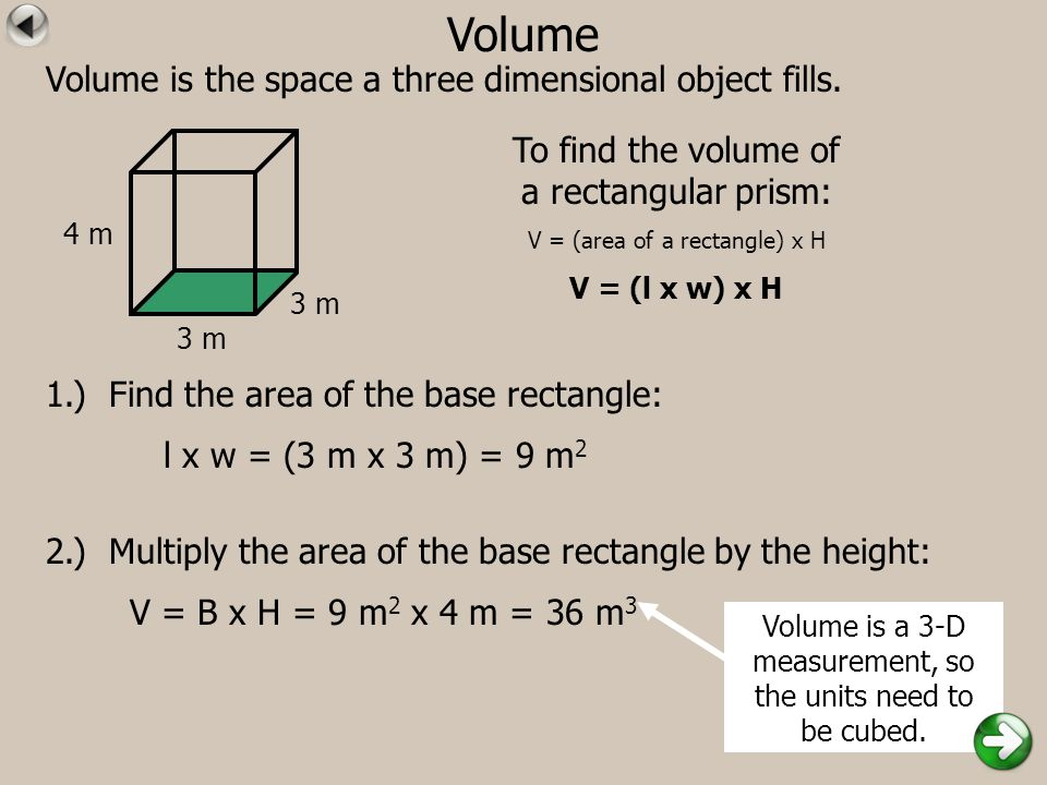 Volume Volume is the space a three dimensional object fills. 1.) Find the area of the base rectangle: 2.) Multiply the area of the base rectangle by t