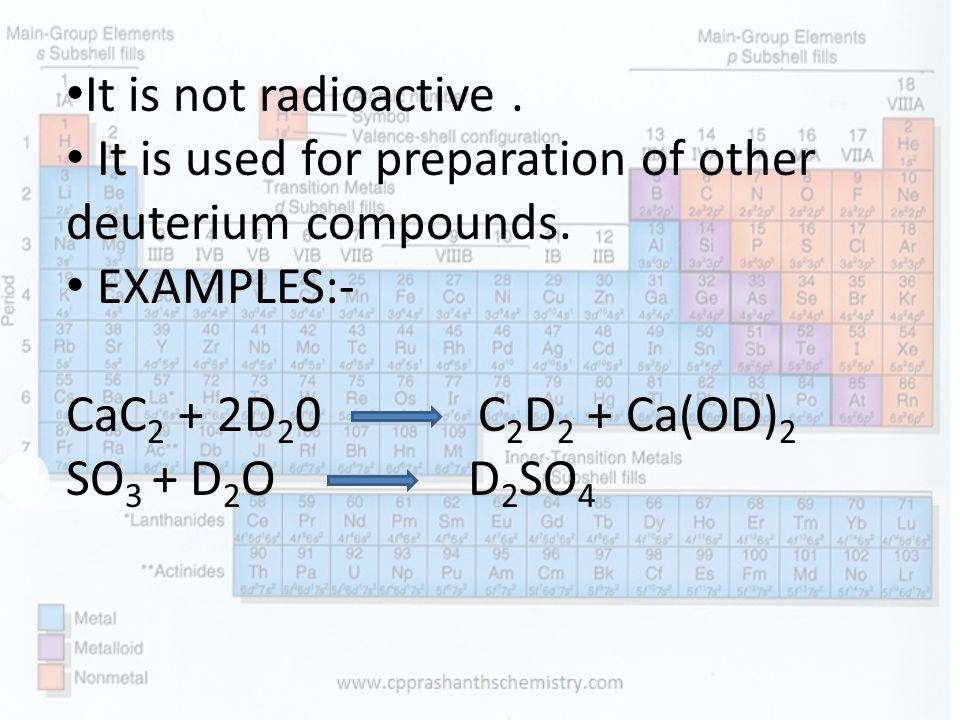 It is not radioactive.It is used for preparation of other deuterium compounds.