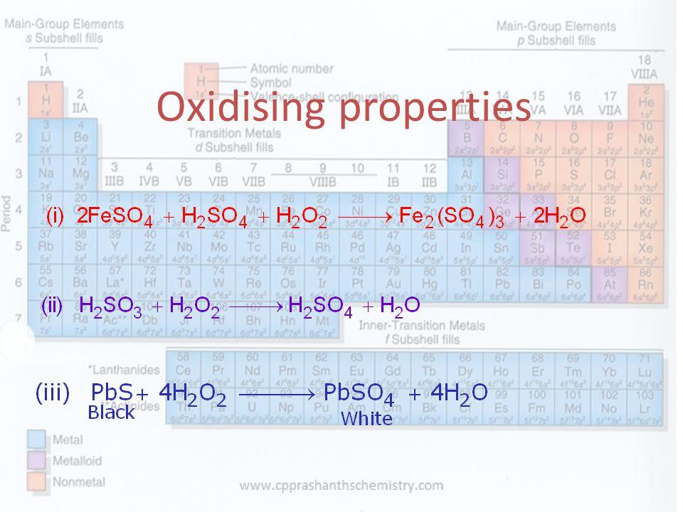 Oxidising properties