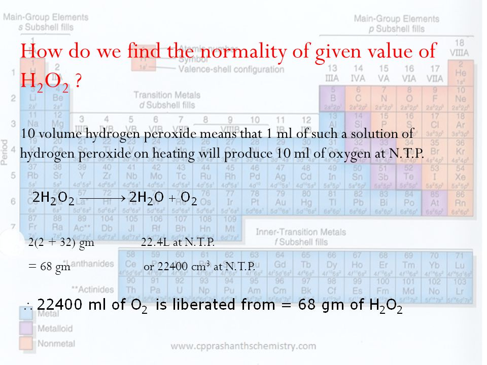How do we find the normality of given value of H 2 O 2 .