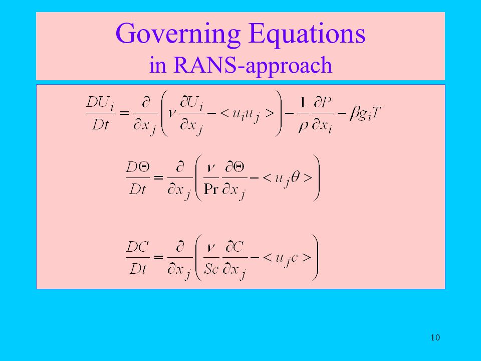 10 Governing Equations in RANS-approach