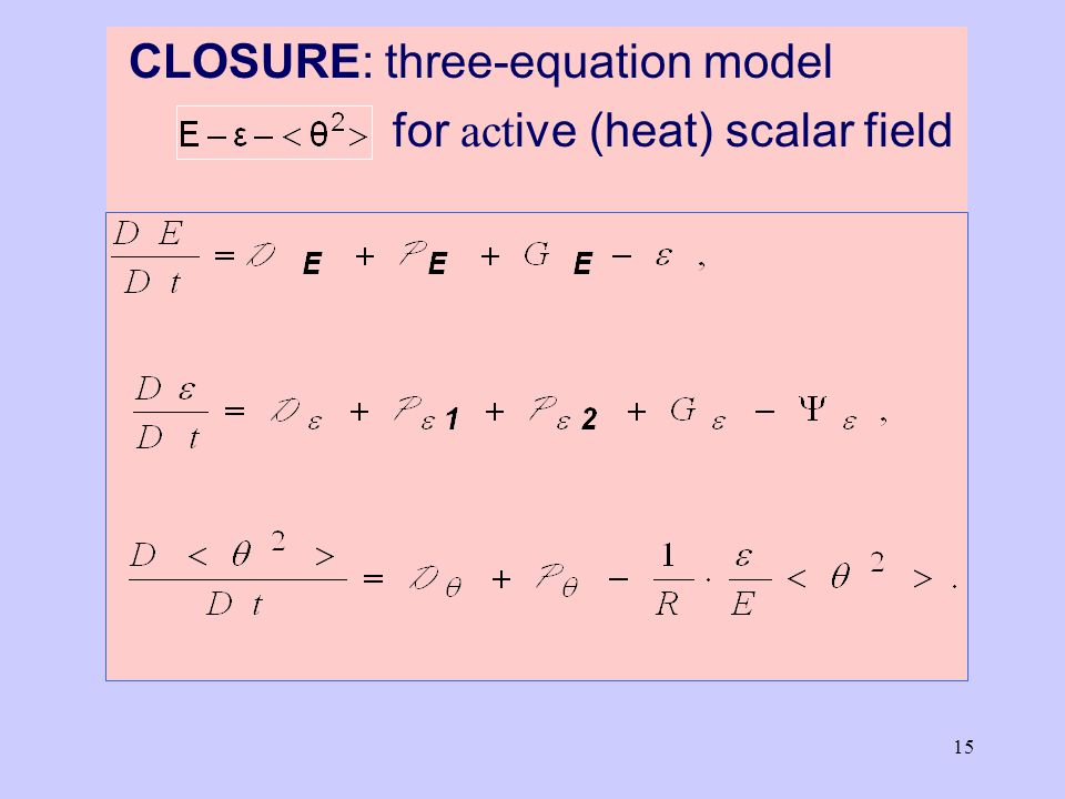 15 CLOSURE: three-equation model for act ive (heat) scalar field