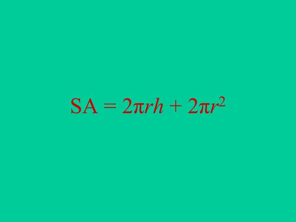 SA = 2πrh + 2πr 2