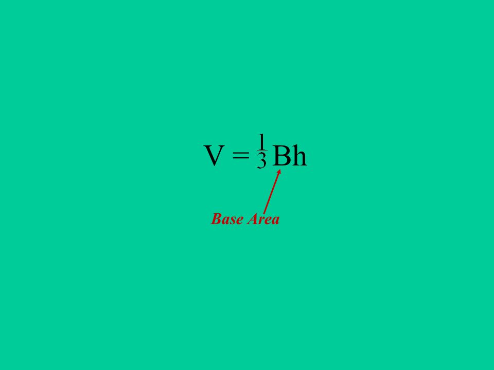 V = Bh Base Area