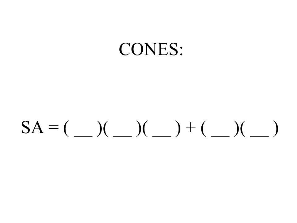CONES: SA = ( __ )( __ )( __ ) + ( __ )( __ )