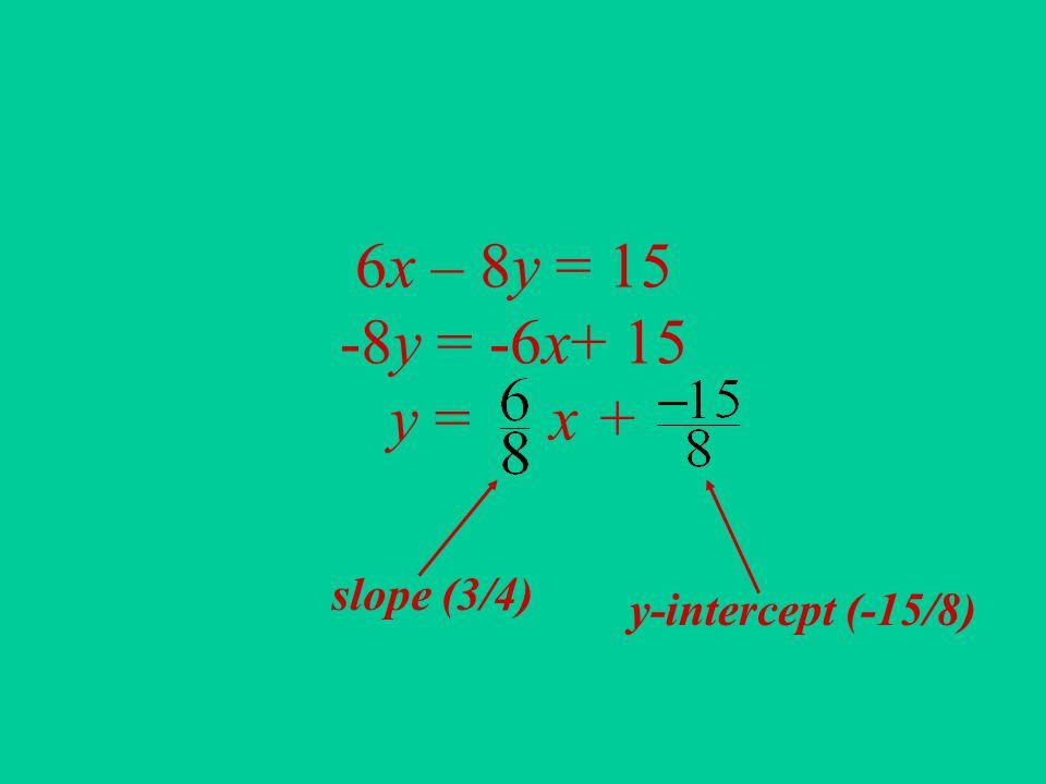 6x – 8y = 15 -8y = -6x+ 15 y = x + slope (3/4) y-intercept (-15/8)