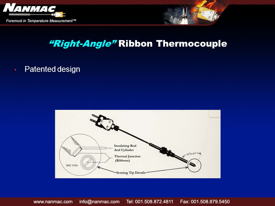 Right-Angle Ribbon Thermocouple Patented design