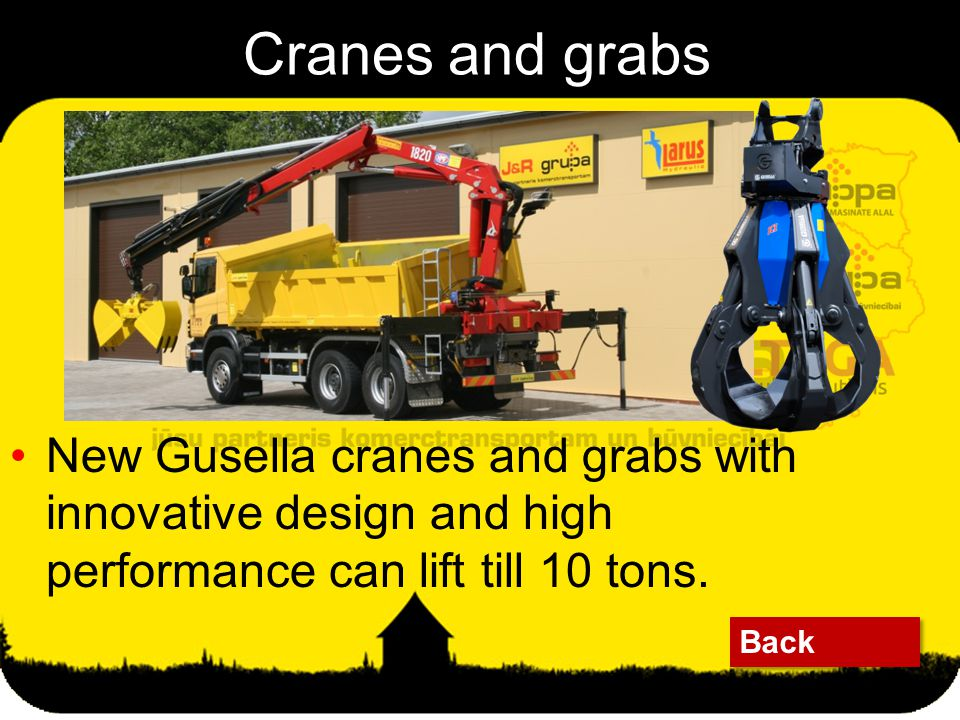 Cranes and grabs Back New Gusella cranes and grabs with innovative design and high performance can lift till 10 tons.
