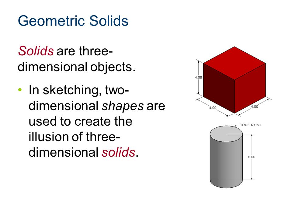 Geometric Solids Solids are three- dimensional objects. In sketching, two- dimensional shapes are used to create the illusion of three- dimensional so