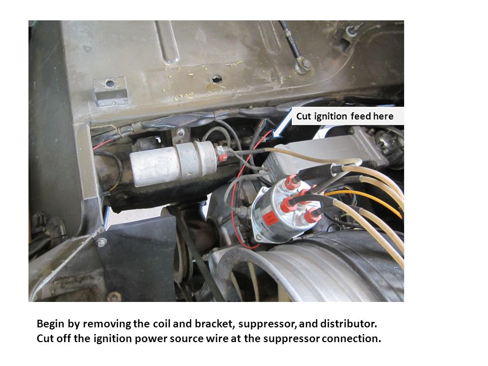 Begin by removing the coil and bracket, suppressor, and distributor.