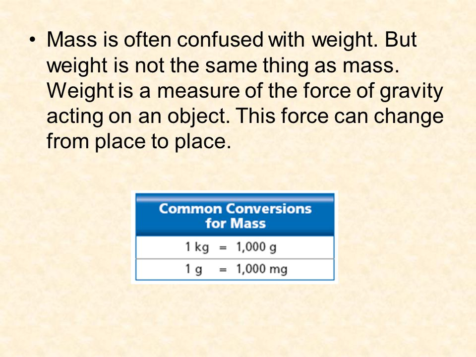 Mass is often confused with weight. But weight is not the same thing as mass. Weight is a measure of the force of gravity acting on an object. This fo