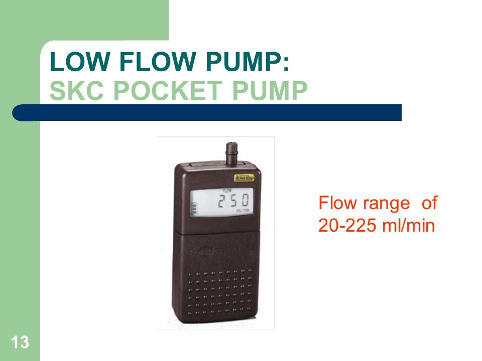 13 LOW FLOW PUMP: SKC POCKET PUMP Flow range of 20-225 ml/min