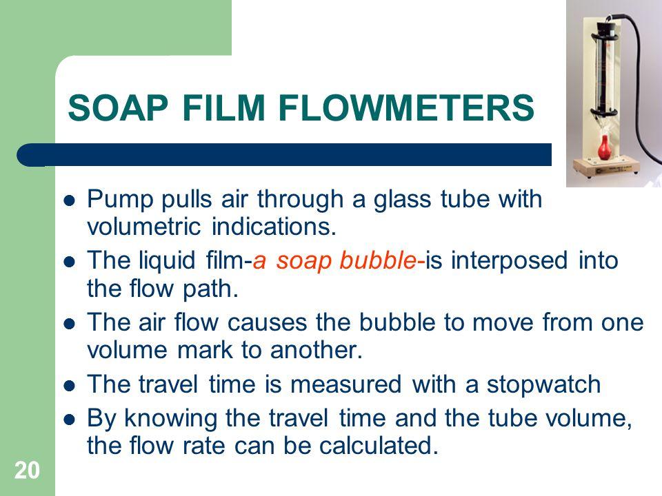 20 SOAP FILM FLOWMETERS Pump pulls air through a glass tube with volumetric indications.