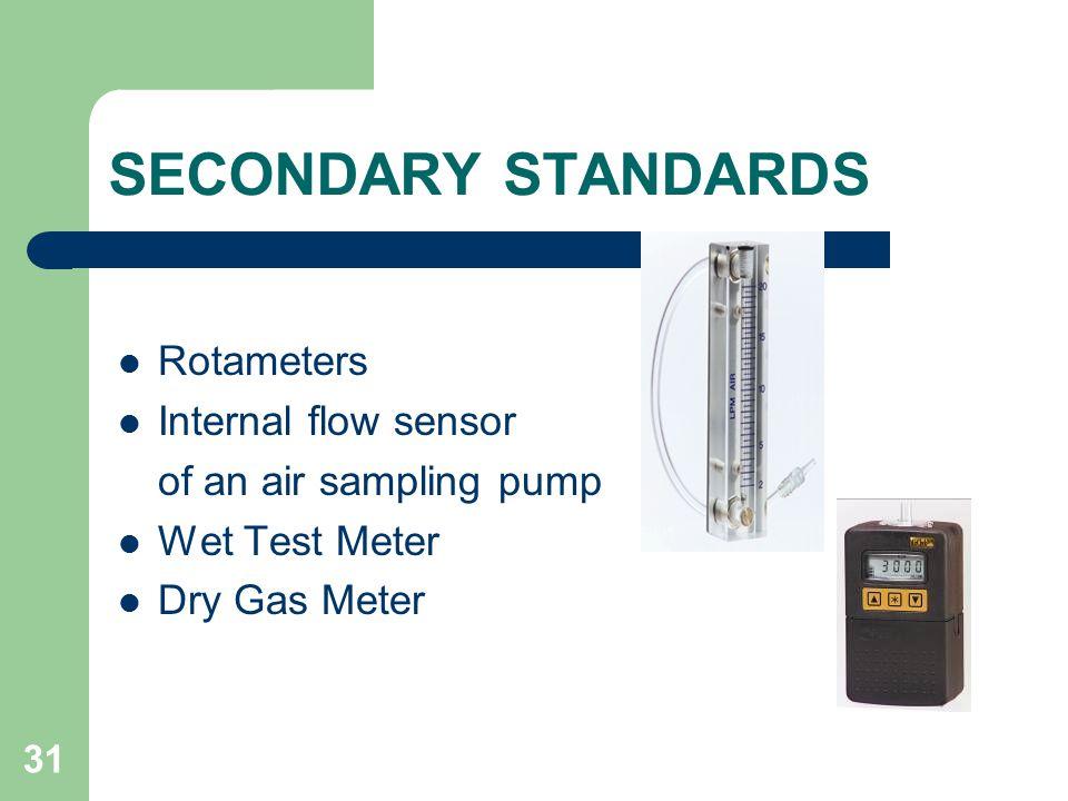 31 SECONDARY STANDARDS Rotameters Internal flow sensor of an air sampling pump Wet Test Meter Dry Gas Meter