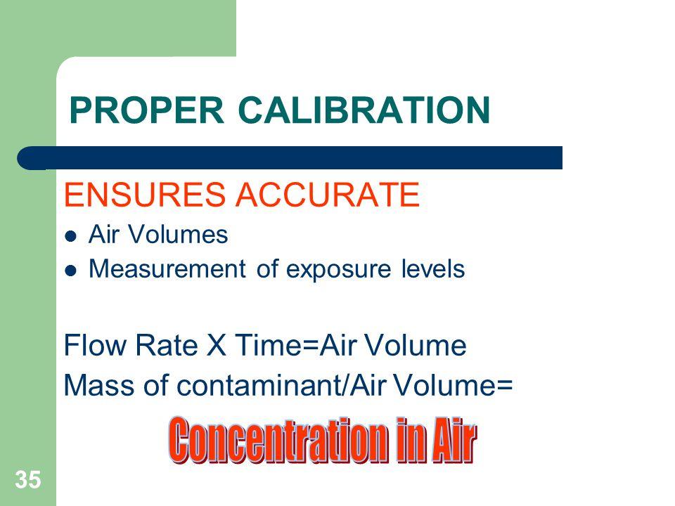 35 PROPER CALIBRATION ENSURES ACCURATE Air Volumes Measurement of exposure levels Flow Rate X Time=Air Volume Mass of contaminant/Air Volume=
