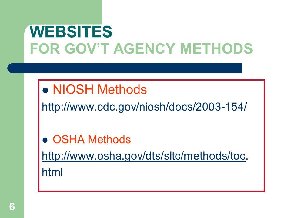 6 WEBSITES FOR GOV'T AGENCY METHODS NIOSH Methods http://www.cdc.gov/niosh/docs/2003-154/ OSHA Methods http://www.osha.gov/dts/sltc/methods/tochttp://www.osha.gov/dts/sltc/methods/toc.